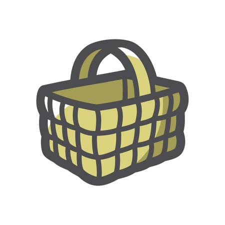 Wicker Basket rustic Vector icon Cartoon illustration.