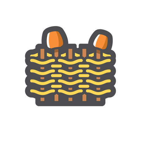 Wicker fence with jugs Vector icon Cartoon illustration.