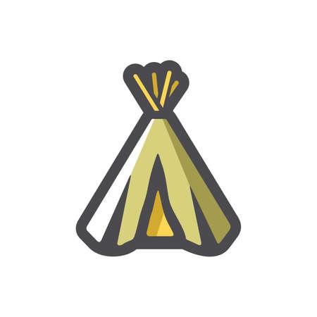 Indian Wigwam home Vector icon Cartoon illustration.