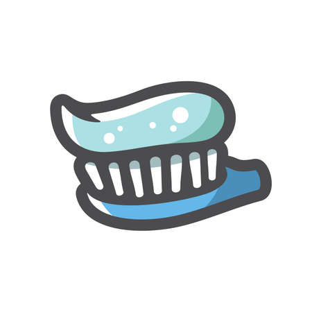 Toothbrush with toothpaste Vector icon Cartoon illustration 矢量图像