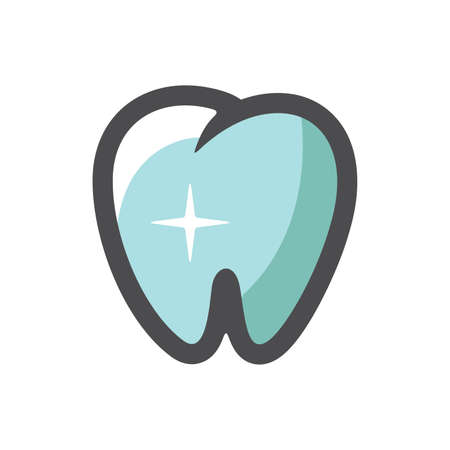 Tooth with shine Vector icon Cartoon illustration