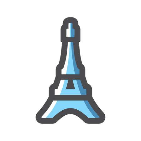 Eiffel Tower Silhouette France Vector icon Cartoon illustration. 矢量图像