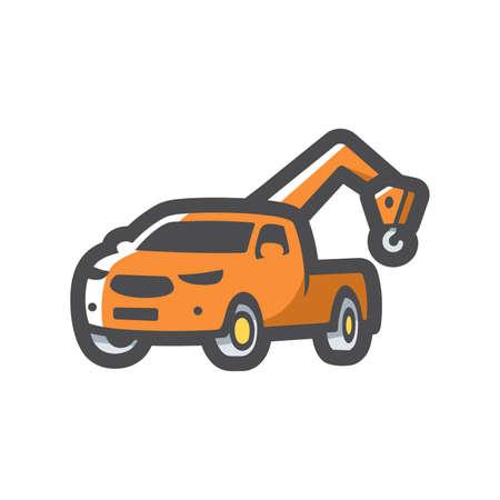 Tow wrecker pickup truck Vector icon Cartoon illustration.