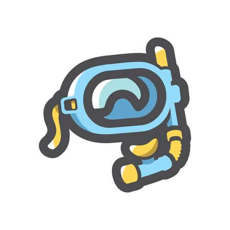Diving Mask equipment Vector icon Cartoon illustration.