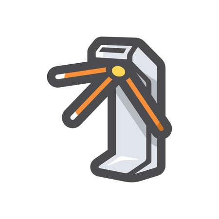 Turnstile security equipment Vector icon Cartoon illustration.