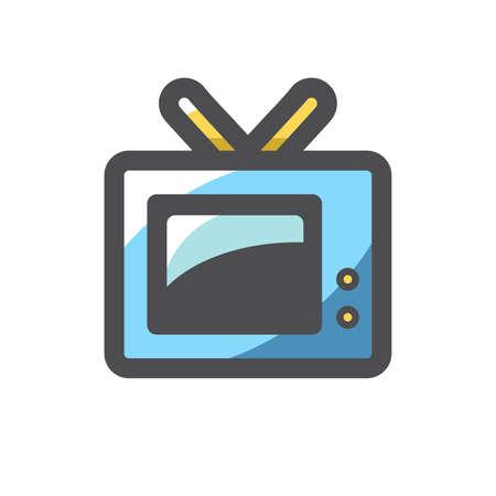 Old retro TV Vector icon Cartoon illustration.
