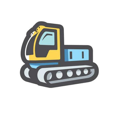 Ratrak Snowcat ski track Vector icon Cartoon illustration. 矢量图像