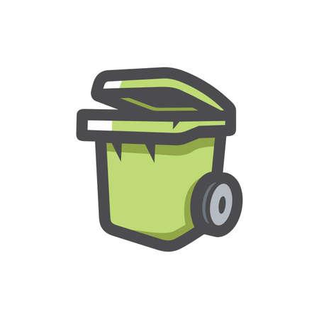 Garbage Bin Trash Can Vector icon Cartoon illustration. 矢量图像