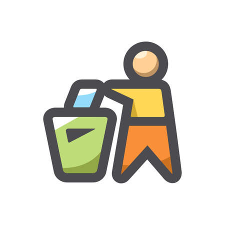 Trash Can People garbage Vector icon Cartoon illustration. 矢量图像