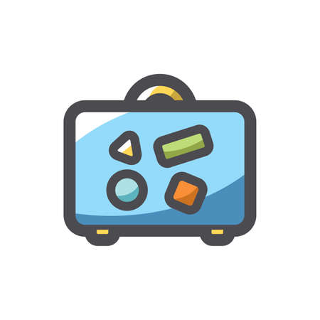 Suitcase with funky stickers Vector icon Cartoon illustration.