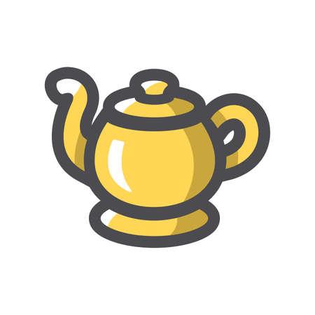 Genie golden Lamp Vector icon Cartoon illustration