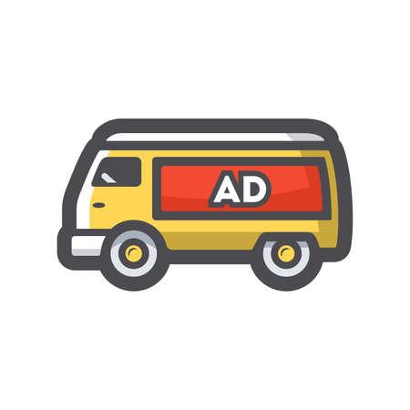 Minivan with advertising Vector icon Cartoon illustration