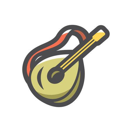 Banjo musical instrument Vector icon Cartoon illustration