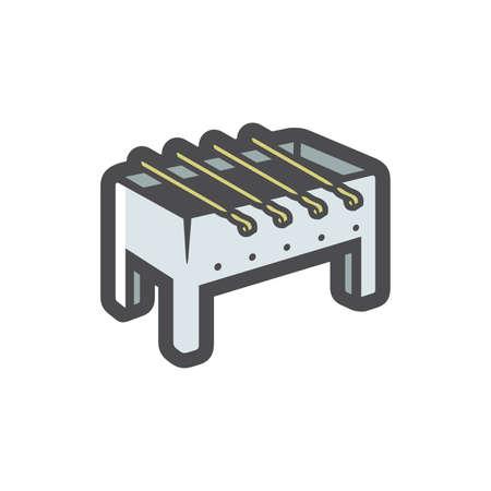 Realistic metallic Brazier Vector icon Cartoon illustration