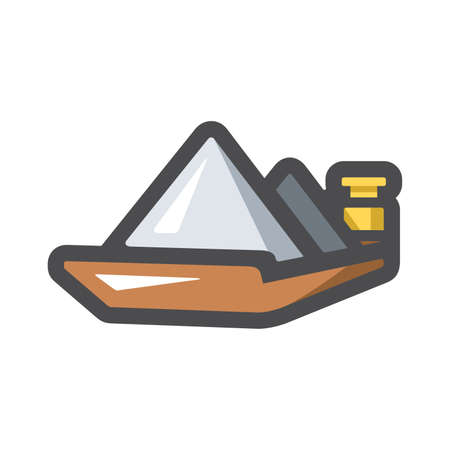 Barge on a River bulk cargo shipping Vector icon Cartoon illustration