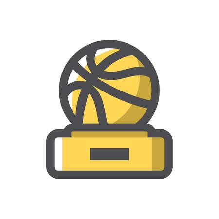 Basketball Award gold cup Vector icon Cartoon illustration