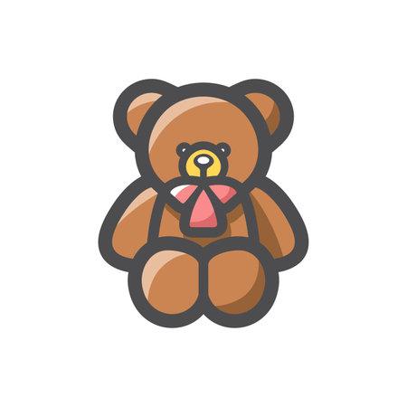 Teddy bear toy Vector icon Cartoon illustration