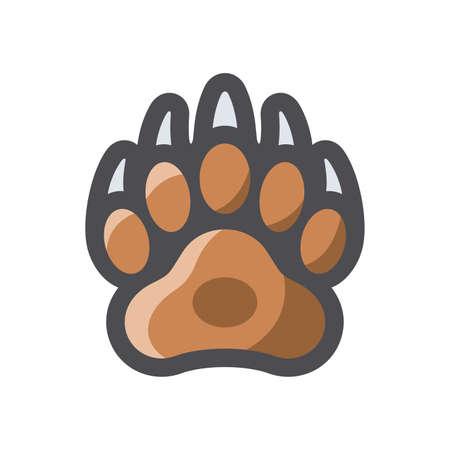 Bear Paw claws Vector icon Cartoon illustration