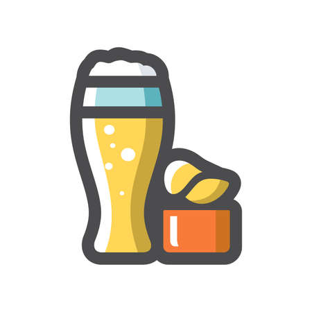 Beer and Chips Vector icon Cartoon illustration