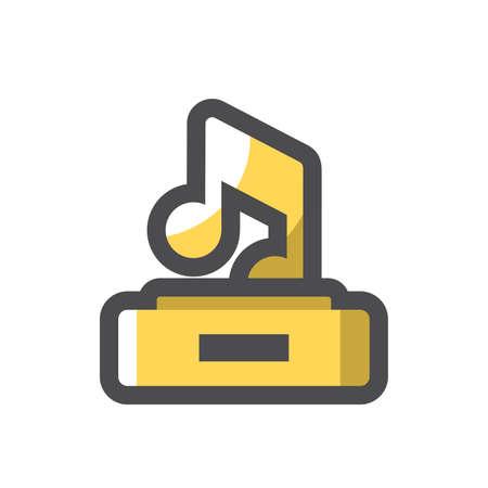Golden Music thropy singer award Vector icon Cartoon illustration