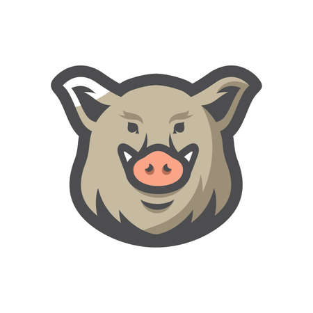 Boar head Wild pig isolated on white background 矢量图像