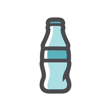 Glass bottle soda Vector icon Cartoon illustration