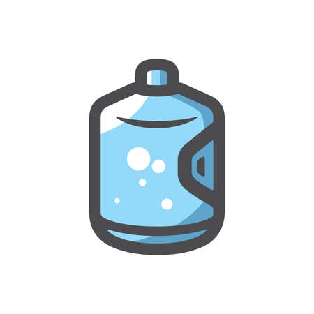 Big bottle with clean blue water Vector icon Cartoon illustration