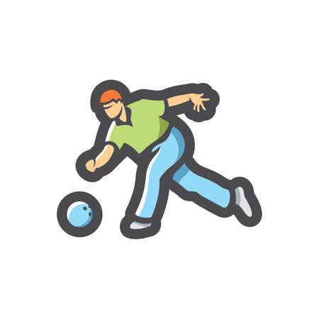 Bowling Player Athlete Vector icon Cartoon illustration