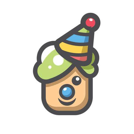 Funny Clown head Vector icon Cartoon illustration 矢量图像