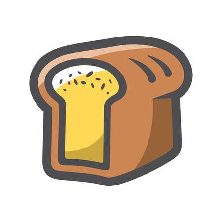 Fresh wheat bread Vector icon Cartoon illustration