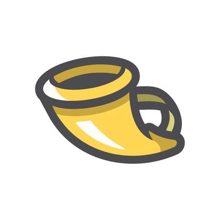 Hunting gold Horn Vector icon Cartoon illustration