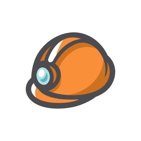 Orange Helmet for builder worker Vector icon Cartoon illustration 矢量图像