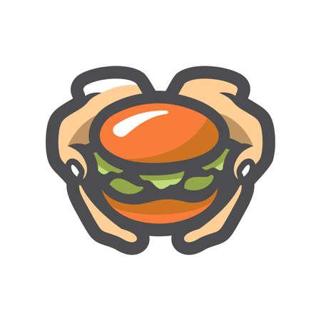 Hamburger in hand Vector icon Cartoon illustration 矢量图像