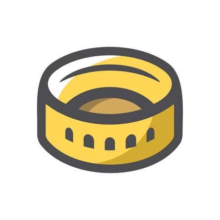 Coliseum amphitheater in Rome Vector icon Cartoon illustration.