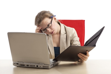 An overworked office staff with burnout