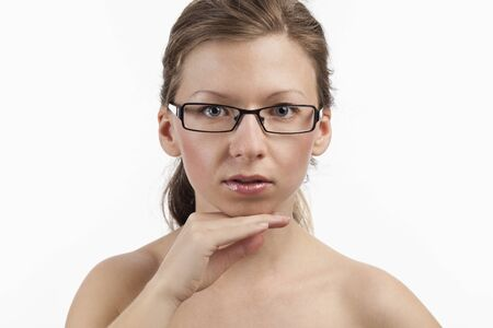 wearer: Flawless face of a young charming spectacle wearer Stock Photo