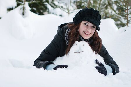 Young woman in a winter landscape Stock Photo - 15264084