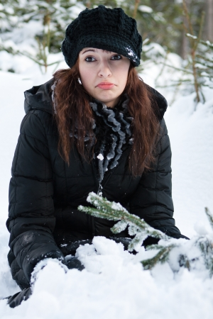 Young woman in a winter landscape Stock Photo - 15264101