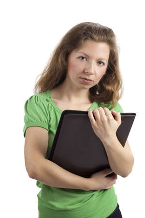 maintains: Dedicated young woman holding a folder in her hands