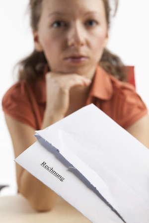 received: Young woman has received invoice