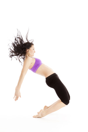 cushioning: Female ballet dancer during the landing from the jump Stock Photo