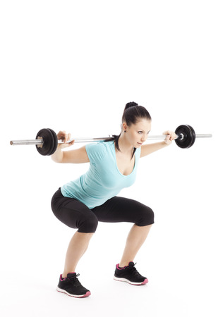 exertion: Athlete does squats with barbell