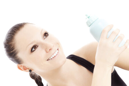 quencher: Happy woman with Sports Bottle