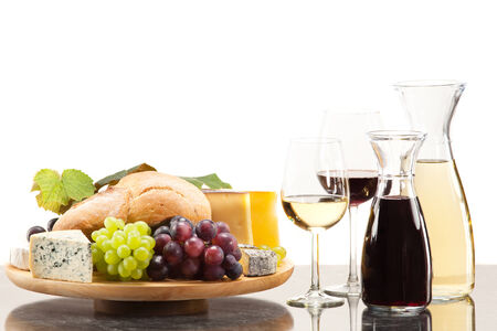 cheese plate: Gourmet food, cheese plate with grapes and bread to wine