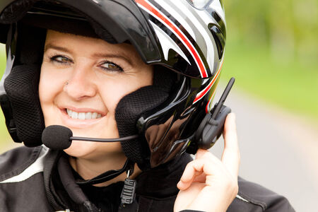handsfree phone: Motorcyclist with hands-free phone system
