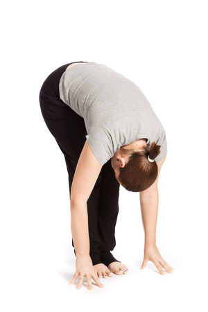 salutation: Single pose of the sun salutation in yoga Stock Photo