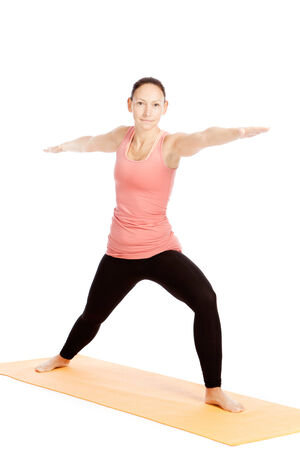 sudio: Yoga exercises in front of white background Stock Photo