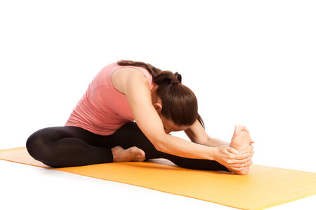 Yoga exercises in front of white background Stok Fotoğraf