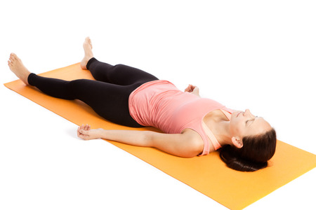 yoga meditation: Yoga exercises in front of white background Stock Photo