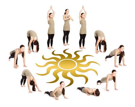 Sequence of the sun salutation with a sun symbol, surya namaskar